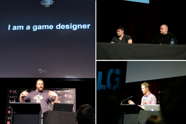 "Left: Carl de Visser (Producer & Game designer ""Path of Exile"") Upper Right: Michael Read (Crytek producer) Kim Dotcom (megauploads founder) Lower Right: Dr. Mark Sagar (Laboratory for Animate Technologies Director)"